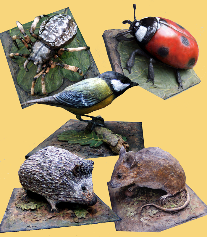 Garden Spider, Great Tit, Ladybird, Woodmouse and Hedgehog; their accompanying Oak leaves indicating their relative scale (Amberley Working Museum, W. Sussex)