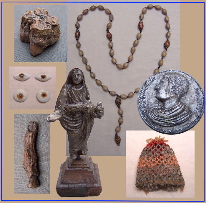 Hands-on replicas of the Bargrave Collection for teaching resources: fossilized Hippo tooth, glass eyes, finger, money pouch, medal, rosary and statuette (Canterbury Cathedral Archives).