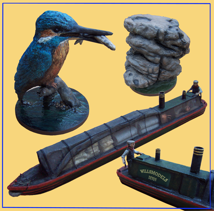 Narrow boat, rotating 'Pots and Pans' rock feature and Kingfisher (FDA Design Ltd.)