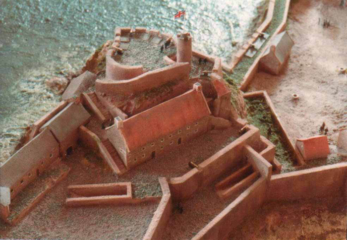 An architectural reconstruction to show the extent of the original building (Jersey Museum).