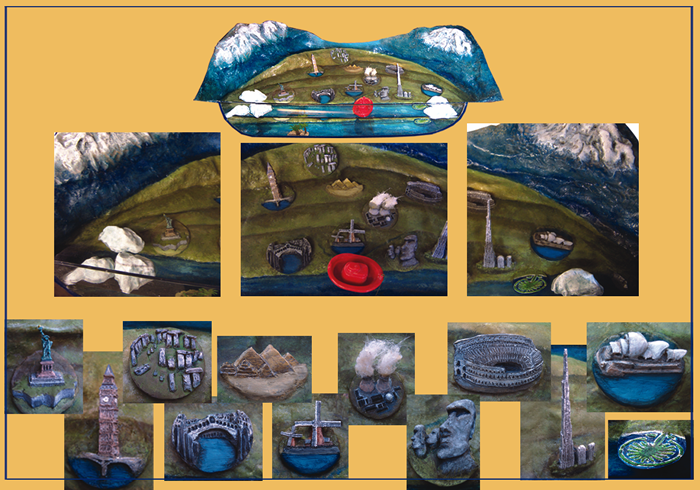 Interactive diorama to suggest which world landmarks could be affected by melting ice caps and rising sea level (Glen Lyn Gorge, Lynmouth).