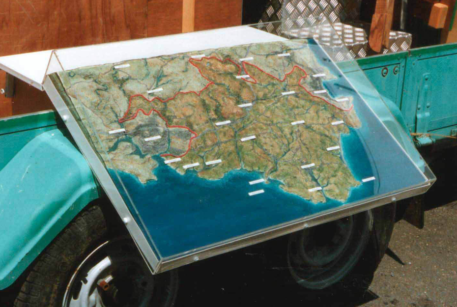 - a mobile map to show the extent of the South Devon Heritage Coast (model folds away during transportation).