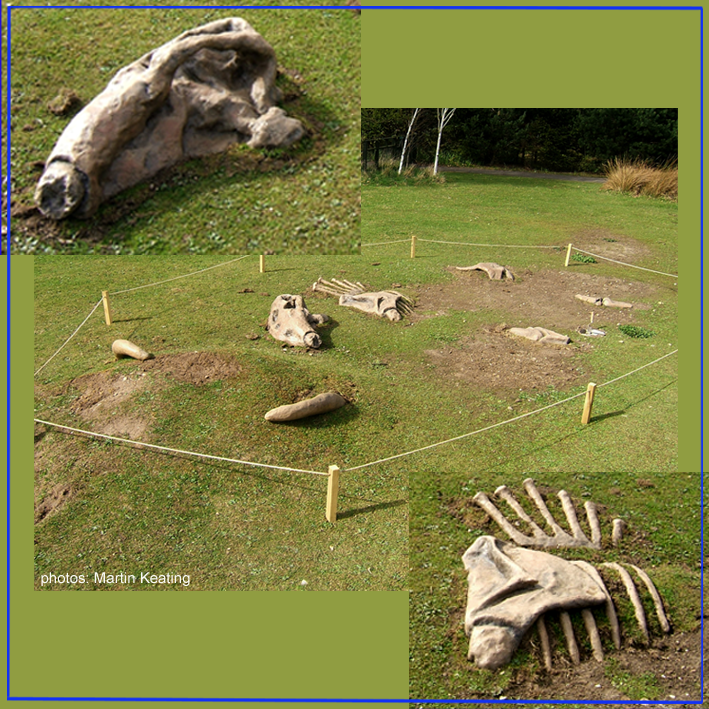 Set into the ground as they might have been discovered (London Wetland Centre).